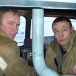 Водитель Лаптев А.Г. и пожарный Филиппов К.П. Пожарная часть по охране с. Харсаим
